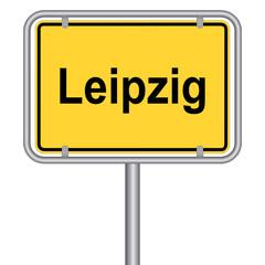 Ortsschild von Leipzig