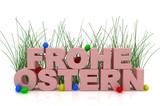 Ostereier-Schriftzug mit Grashalmen