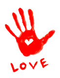 handprint with love symbol