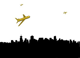 abstract planes departing Vancouver illustration