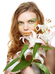 Beautiful woman with lily
