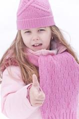 Satisfied girl in snow