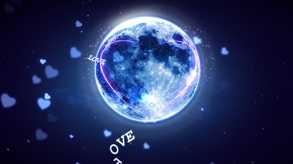 Heart Shaped Moon and Lovely Night
