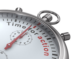 Time for action. Stopwatch on white background. Isolated 3D imag