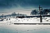 Fototapeta zima - pejzaż - Kolej