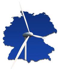 Windkraftrad, blauer Hintergrund in abstrakter Deutschlandkarte
