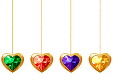 Collection de différents coeurs suspendus avec des gemmes