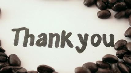 thank you. written on white under coffee