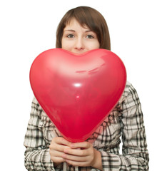 Girl with balloon in the form of heart