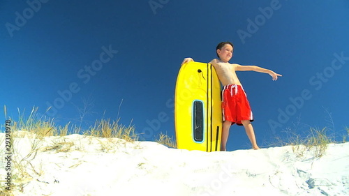 Young Boy With Bodyboard filmed at 60FPS