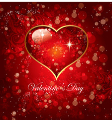Holiday card with red heart