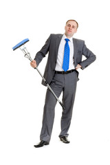 Businessman with a mop