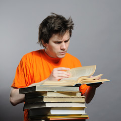 Man with the books.