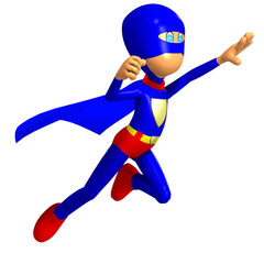 funny cartoon super hero. 3D rendering with clipping path and