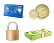 Vector finance icon set. Credit card, coins, banknotes, padlock.