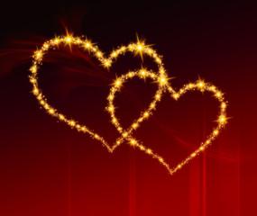 Hochzeitskarte Goldene Herzen auf dem roten Hintergrund
