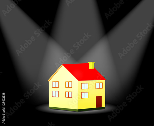 house with spotlight
