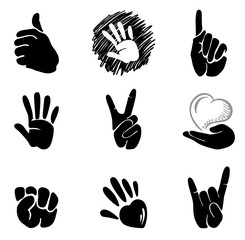 a set of abstract icons - hands and gestures