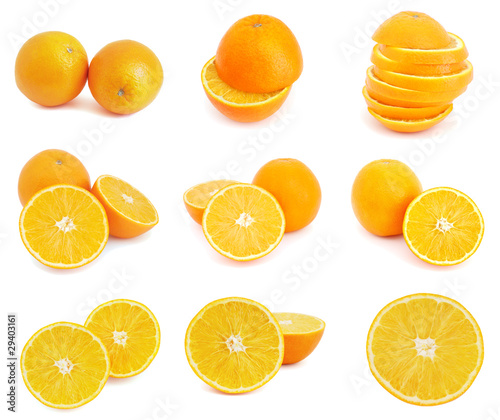 Set of orange fruits isolated on white background