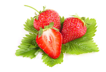 Fresh ripe strawberry on white background