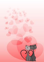Dreaming cats. Valentine's card.