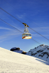 cable car in the winter to transport skiers in the Italian Alps