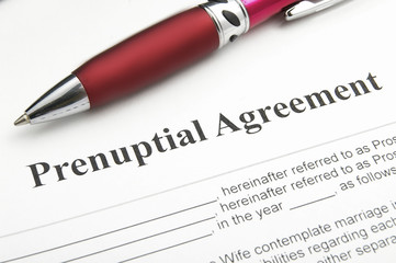 closeup of a marriage prenuptial agreement