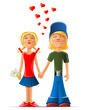 loving boy and girl vector
