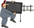 Man Installing Flatscreen TV