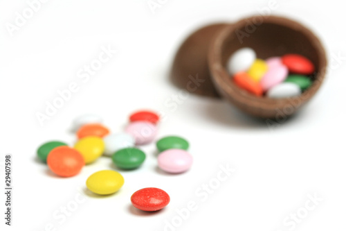 Chocolate sweet with colourful drops