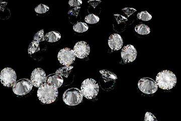 Bunch of diamonds on a shiny black background