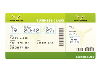 plane tickets business class green