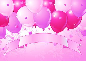Falling Pink Valentine Balloons