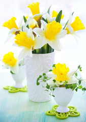 narcissi in vase and eggcups