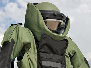An EOD Blast Suit on Public Display.