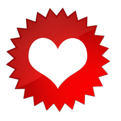 Heart red star button