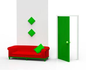 empfangsraum rot grün