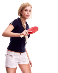 young woman with a racket ping-pong isolated on white