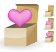 pink heart in the box