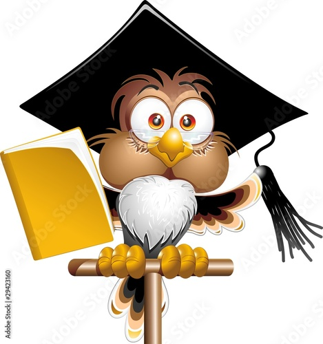 Gufo Professore Cartoon-Owl Teacher Cartoon-Vector