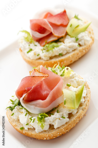 Sandwiches with cream cheese and smoked bacon