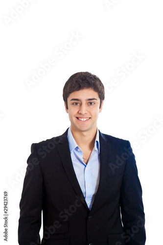Smiling businessman portrait isolated on white
