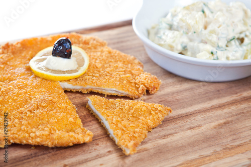 Chicken schnitzel with sauce