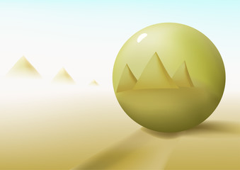 Gold ball in a desert