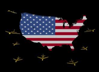 planes departing USA map flag illustration