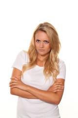 Junge nette Frau. Wütend enttäuscht. Portrait