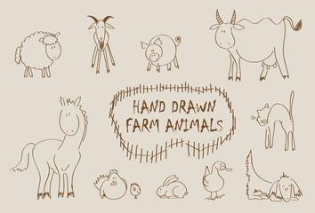 Hand drawn farm animals vector set