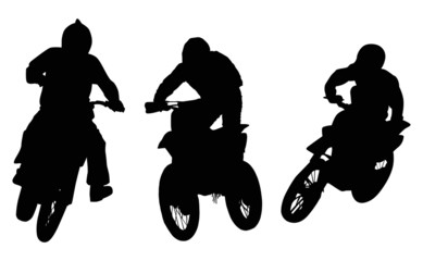 three silhouettes of men on motorcycles