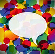 Colorful background made from speech bubbles..