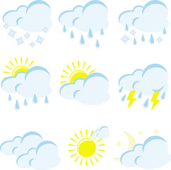 set of weather icons on a white background